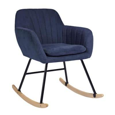 Dark Blue Switch Rocking Leisure Chair with Cushion Rock Roll Textured Fabric