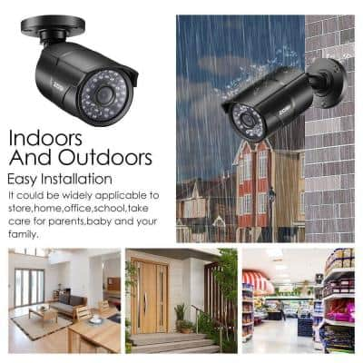 Wired 1080p Black Outdoor Bullet TVI Security Camera Compatible for TVI DVRs (4-Pack)