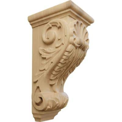 5 in. x 4-1/2 in. x 10 in. Unfinished Wood Cherry Medium Shell Corbel