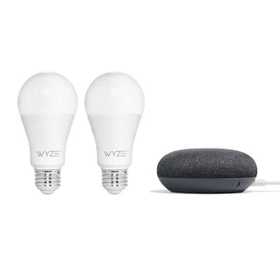 Smart Bulb 2-Pack + Google Nest Mini (2nd Gen) Smart Speaker Charcoal