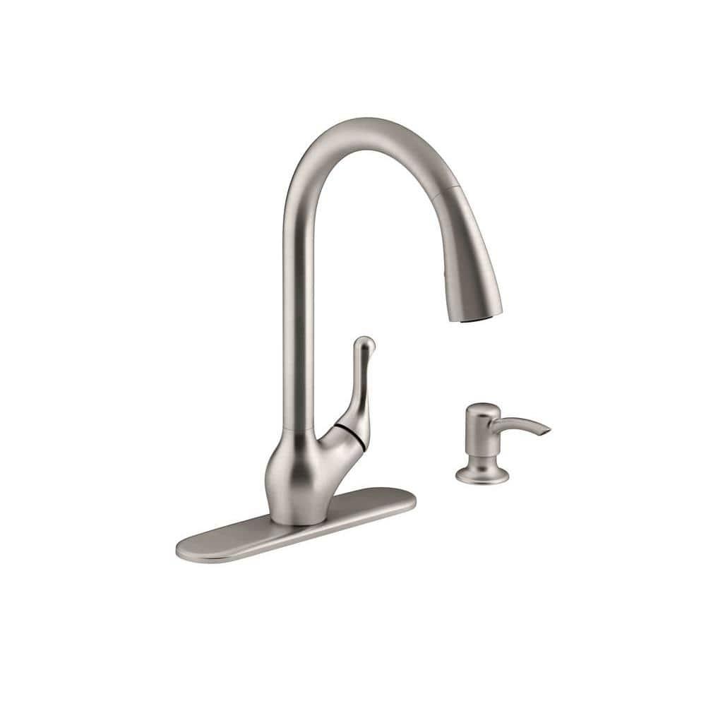 Kohler Barossa Single Handle Pull Down Sprayer Kitchen Faucet With Soap Lotion Dispenser In Vibrant Stainless K R776 Sd Vs The Home Depot