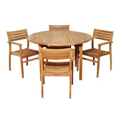 Criss 5-Piece Teak Round Patio Dining Set
