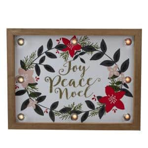 9 in. x 11.8 in. Brown Wooden Framed Floral Joy Peace Noel Christmas Wall Plaque