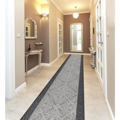 Derbent Grey 26 in. x Your Choice Length Roll Stair Runner