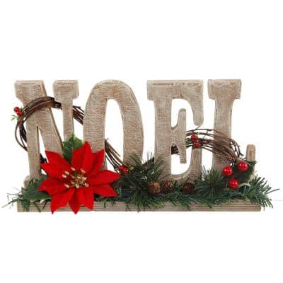 6.4 in. H x 12 in. L Wood Noel Sign with Poinsettia and Berries