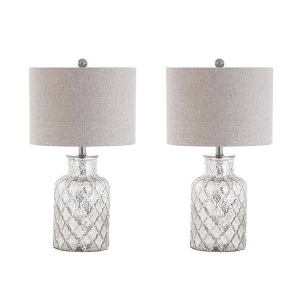 Jonathan Y Alvord 24 5 In Silver Led Glass Table Lamp Set Of 2 Jyl1075a Set2 The Home Depot