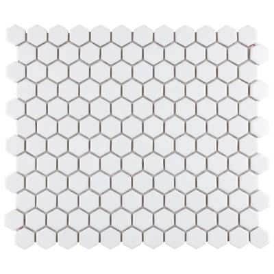 """Metro 1"""" Hex Glossy White 10-1/4 in. x 11-7/8 in. Porcelain Mosaic Tile (8.65 sq. ft. / case)"""
