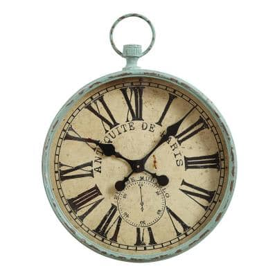 Distressed Aqua Pocket Watch Style Wall Clock