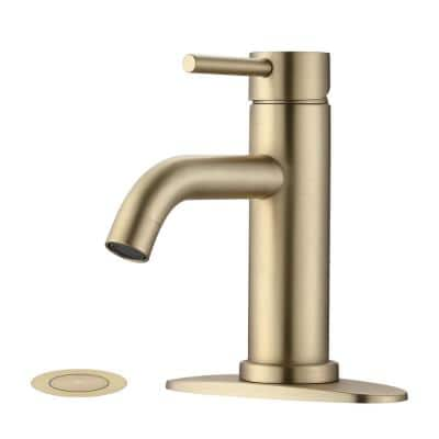 Karwors Single Hole Single Handle Bathroom Faucet with Pop-Up Sink Drain Stopper and Deck Plate in Brushed Gold