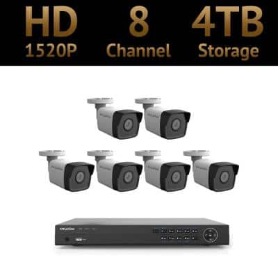 8-Channel 4MP 1520p 4TB Hard Drive Surveillance System with 100 ft. Night Vision and Free Remote Viewing