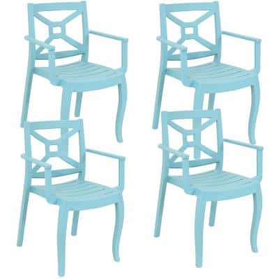 Tristana Plastic Outdoor Patio Arm Chair in Blue (Set of 4)
