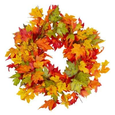 22 in. Yellow and Orange Unlit Foliage Fall Harvest Artificial Wreath
