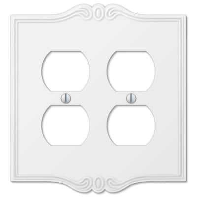 Charleston 2 Gang Duplex Composite Wall Plate - White
