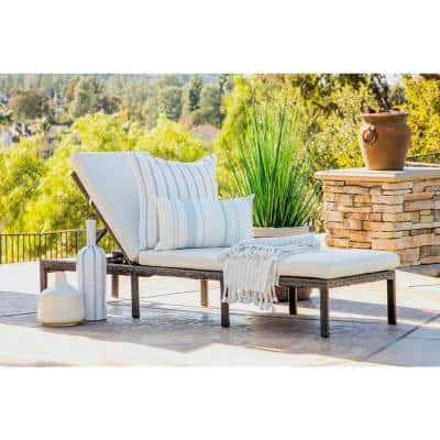 Milano Dark Gray Wicker Outdoor Chaise Lounge with Off White Cushion