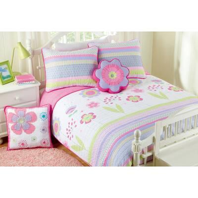 5-Piece Purple Pink Green White Floral Spring Polka Dot Stripe Flower Garden Cotton Reversible Quilt Bedding Set