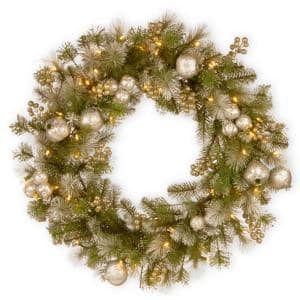 30 in. Battery Operated LED Lights Glittery Pomegranate Pine Wreath