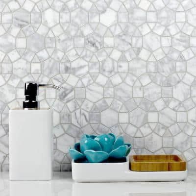 Tuscany Calacatta White Cobblestone 12 in. x 12 in. Glossy Marble Decorative Mosaic Wall Tile (10 sq. ft./Case)