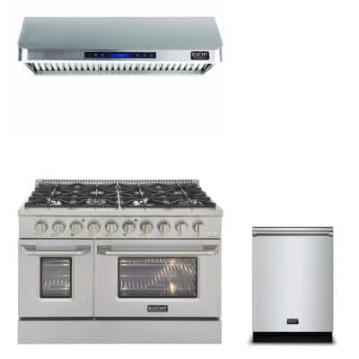 Bundle 48 in. 6.7 cu.ft. Pro-Style Natural Double Oven Gas Range, Range Hood, Dishwasher 24 in. in Stainless Steel