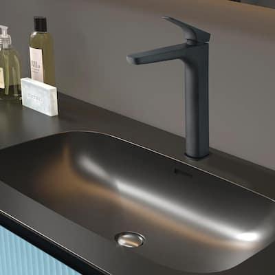 Single Hole Single-Handle Vessel Bathroom Faucet in Matte Black