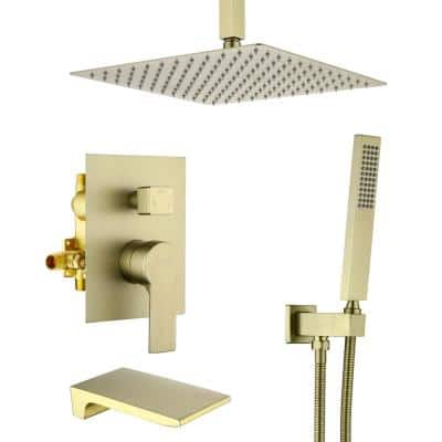 Ceiling Mount Single-Handle 1-Spray Tub and Shower Faucet with 10 in. Fixed shower head in Brushed Gold (Valve Included)