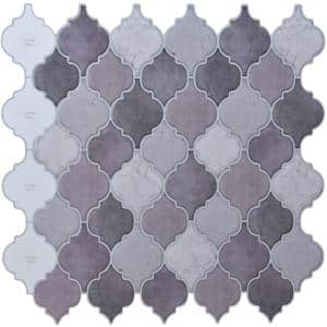 Arabesque 12 in. x 12 in. Vinyl Peel and Stick Backsplash in Purple for Kitchen Wall Tiles