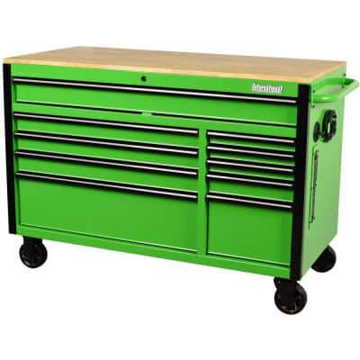 52 in. W x 24.5 in. D 10-Drawer Green Mobile Workbench with Solid Wood Top