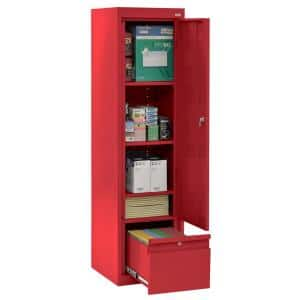 System Series 17 in. W x 64 in. H x 18 in. D Red Single Door Storage Cabinet with File Drawer