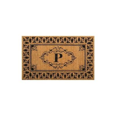 Welcome 30 in. x 48 in. Indoor/Outdoor Monogrammed Letter P Door Mat