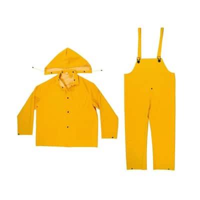 Size Medium 0.35 mm PVC/Polyester Yellow Rain Suit (3-Piece)