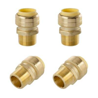 3/4 in. Push-Fit x 3/4 in. Male Pipe Thread Brass Coupling (4-Pack)