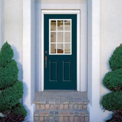 32 in. x 80 in. 9 Lite Night Tide Left Hand Inswing Painted Smooth Fiberglass Prehung Front Door with No Brickmold