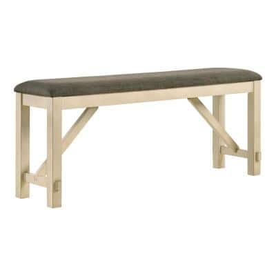 Olamm Ivory and Gray Counter Height Bench