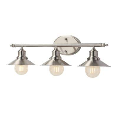 Glenhurst 3-Light Brushed Nickel Retro Vanity Light with Metal Shades