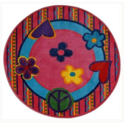 Fun Time Shape Peace Out 4 ft. Round Area Rug