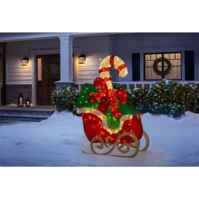 61 in Cool White 120-Light LED Sleigh with Presents