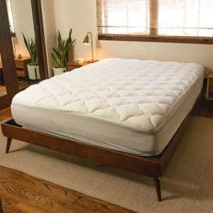 White Twin XL Tencel Plush Mattress Pad with Fitted Skirt
