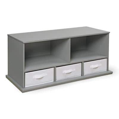 37 in. W x 17 in. H x 16 in. D Gray Stackable Shelf Storage Cubbies with 3-Baskets