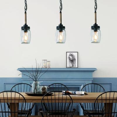 1-Light Mini Farmhouse Island Chandelier Rustic Single Jar Glass Pendant Adjustable Ceiling Light