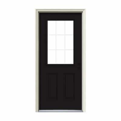 36 in. x 80 in. 9 Lite Black Painted Steel Prehung Left-Hand Inswing Back Door w/Brickmould