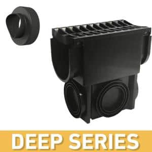 Deep Series Slim Drainage Pit/Catch Basin for Modular Trench and Channel Drain Systems with Multi Pipe Adapter