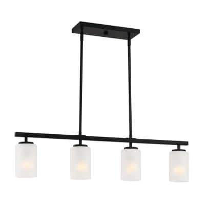 Carmine 4-Light Matte Black Island Pendant