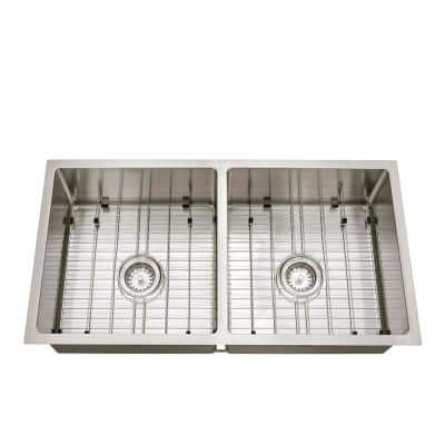 Brushed Stainless Steel 36 in. 18-Gauge Tight Radius Double Bowl Undermount Kitchen Sink with Grid and Strainer