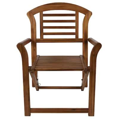 Fenton Teak Stain Folding Wood Outdoor Arm Chair