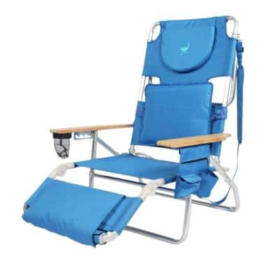 Solid Blue Metal Deluxe Padded 3-N-1 Outdoor Lounge Reclining Beach Chair