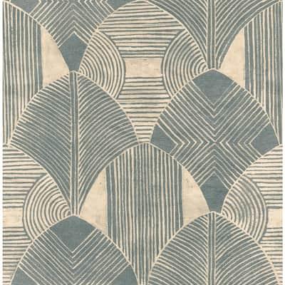 Westport Teal Geometric Teal Wallpaper Sample