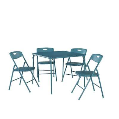 5-Piece Teal Portable Folding Card Table Set