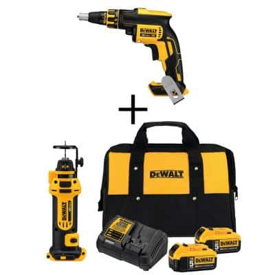 20-Volt MAX XR Cordless Brushless Drywall Screw Gun with (2) 20-Volt 5.0Ah Batteries & Cut-Out Tool