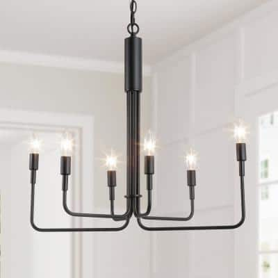 Irregular Modern 25 in. 6-Light Classic Black Farmhouse Pendant Light Candlestick Island Adjustable Chandelier