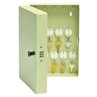 All Heavy Gauge Stainless Steel Key Cabinet Safe with Combo Lock, Putty