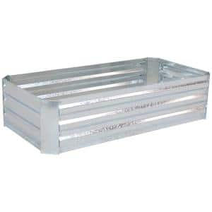 48 in. Silver Galvanized Steel Rectangle Raised Bed